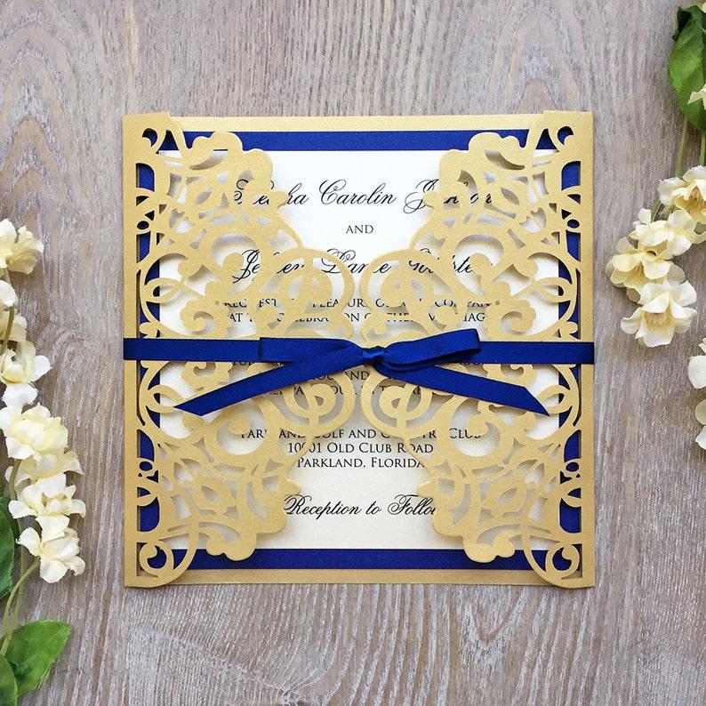 e1f7d7c9ee05 KIESHA Laser Cut Wedding Invitation Metallic Gold Gatefold