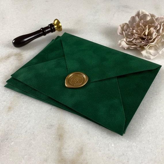 EMERALD GREEN - Velvet Envelope - Suede Envelope - A7 Euro Flap Envelope - Wedding Invitation Envelope - Forest Green