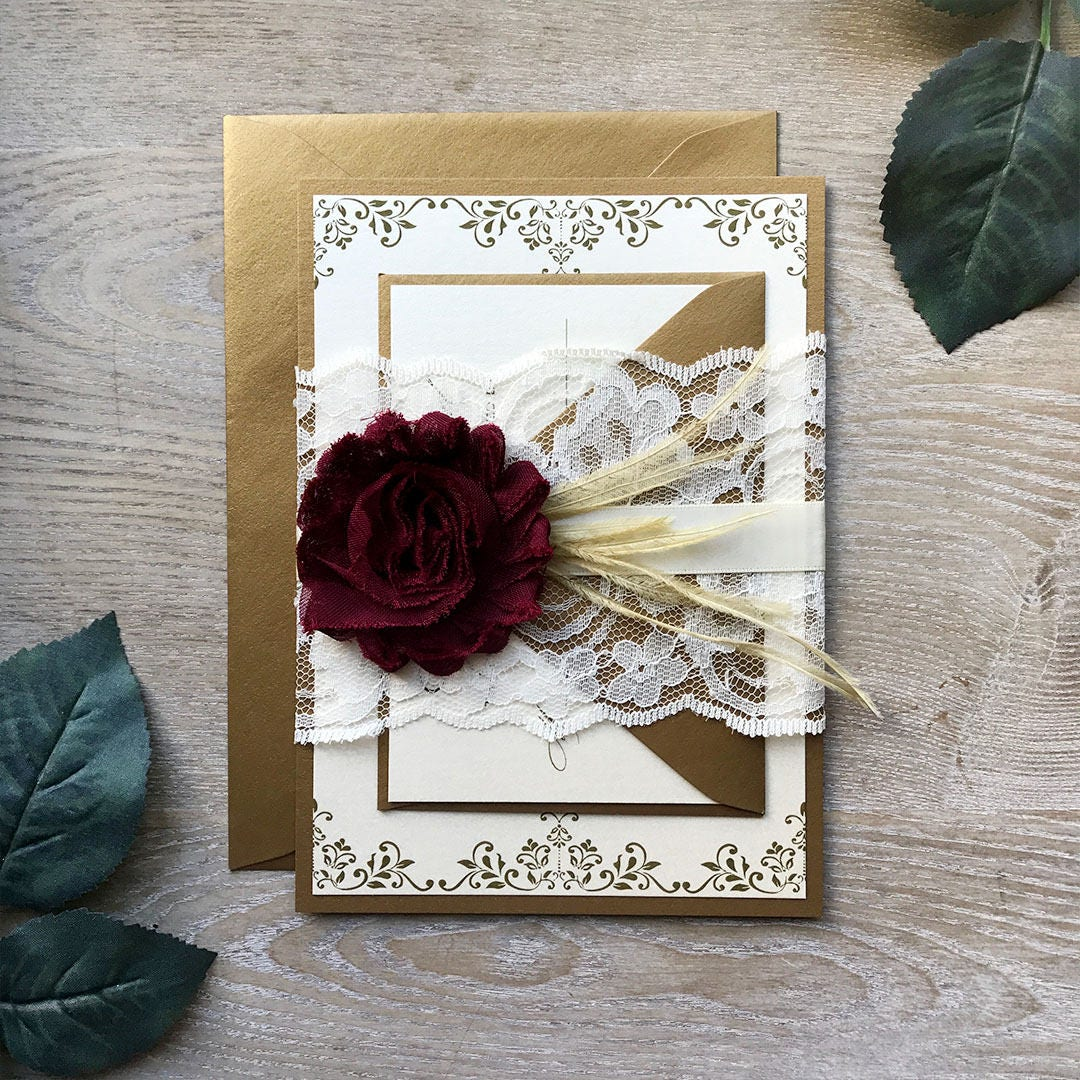 Wedding Invitations With Lace: Burgundy And Gold Lace Wedding Invitation
