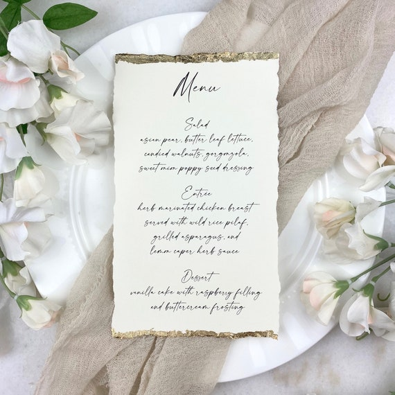 Ivory Wedding Menu with Deckled Edges and Gold Leaf - Natural Card Stock with Hand Torn Edges- Custom Menu - Dinner Menu Card