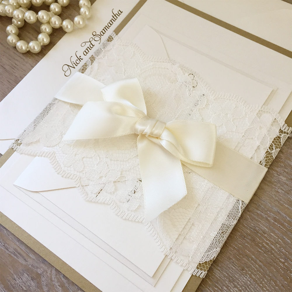 SAMANTHA - Gold and Ivory Lace Wedding Invitation - Ivory Lace Belly ...