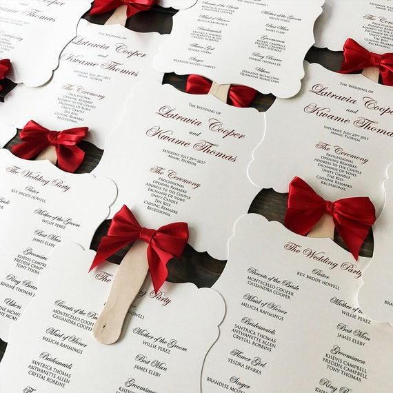 Fancy Shape Fan Program with Red Bow - Ivory Die Cut Wedding Program with Red Ribbon - Custom Wording, Colors, & Fonts