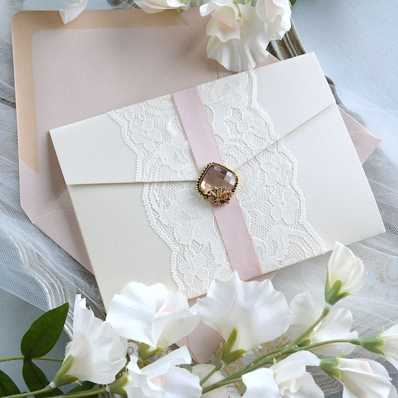 IVELISE - Pink Blush and Ivory Lace Wedding Invitation with Side Pocket and Vintage Brooch - Ivory Shimmer Trifold Pocket Invitation Suite