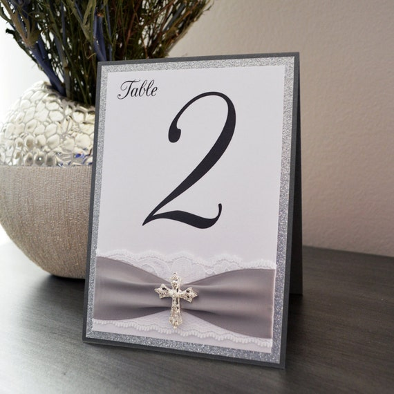 Cross Table Number for Baptism, Christening, Communion -  Tented Table Card with Glitter, Lace, Ribbon and Silver Crystal Cross