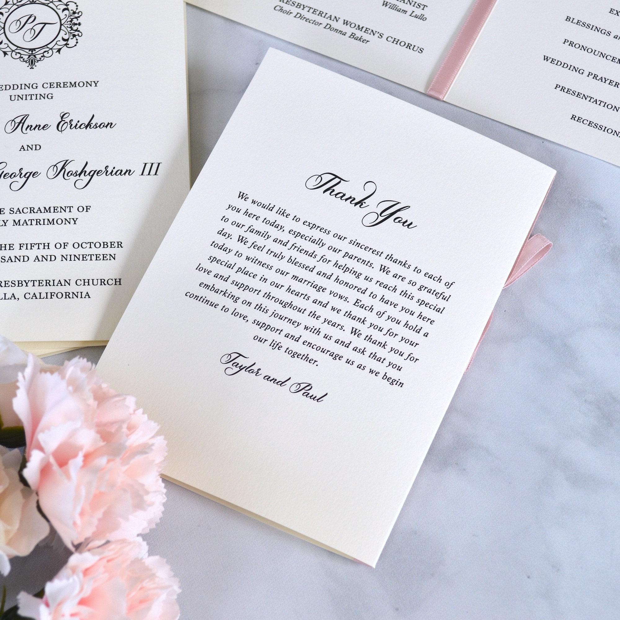 Wedding Program With Pink Blush Satin Ribbon Bow