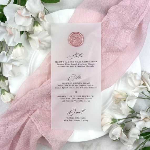 Vellum Wedding Menu with Wax Seal - Translucent Vellum Card Stock with Blush Wax Seal- Custom Menu - Dinner Menu Card