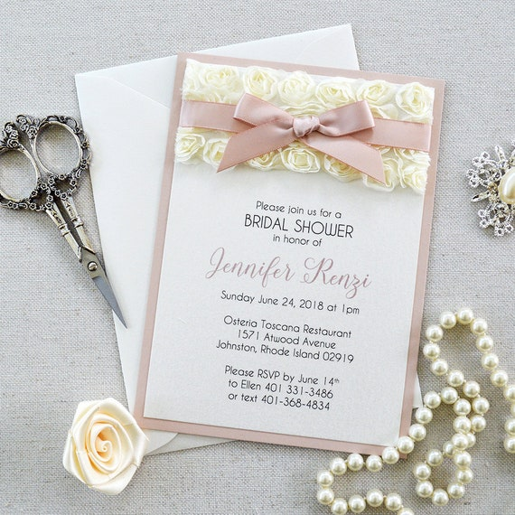 Rosette Bridal Shower Invitation - Ivory Rosette Lace with Pink Blush Ribbon - Baby Shower Invitation