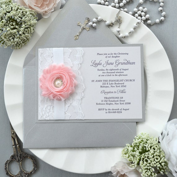 Layla - Silver and White Lace Baptism Invitation with Pink Chiffon Flower and Pearl Button center - Christening Invite with Lace and Rose
