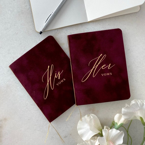 Wine Velvet Vow Books with Gold Foil for Wedding Ceremony - His Vows/Her Vows - Burgundy Suede Keepsake Book - Styled Shoot Sample