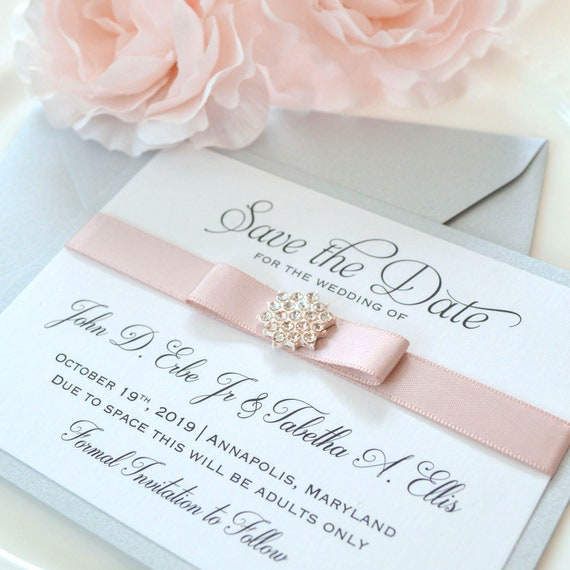 SNOWFLAKE Save The Date - Blush Pink Save the Date Card - Blush Pink Ribbon and Snowflake Crystal Button - Custom colors available