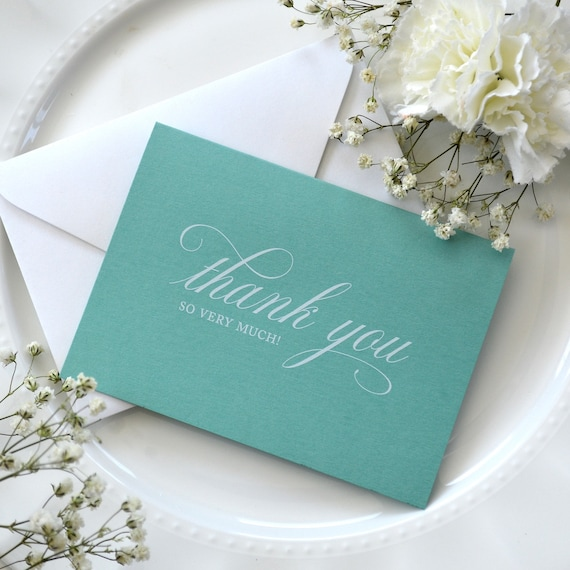 10 Pack of Aqua Thank You Cards - Thank You So Very Much in White Ink - Folding Cards with Envelopes - Wedding Thank You Notes