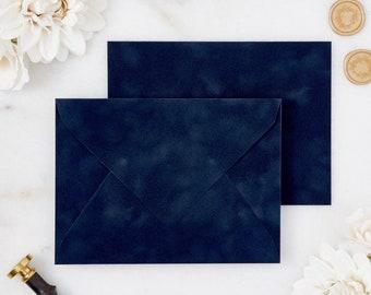 Navy Blue Velvet Envelopes - A7 or A9 Euro Flap Envelopes - Suede Envelopes - Wedding Invitation Envelopes - Inner Envelope