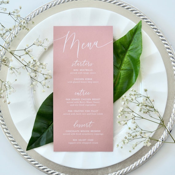 Blush Wedding Menu - White Ink on Dusty Rose Card Stock - Custom Menu - Dinner Menu Card