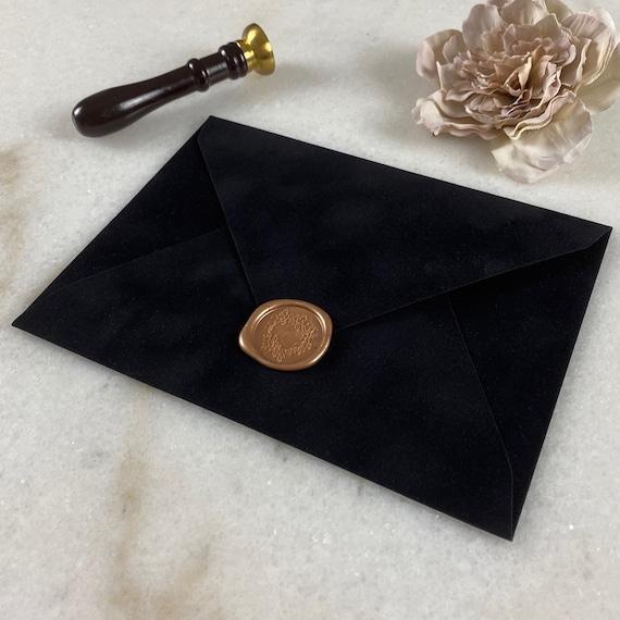 BLACK - Velvet Envelope - Suede Envelope - A7 Euro Flap Envelope - Wedding Invitation Envelope