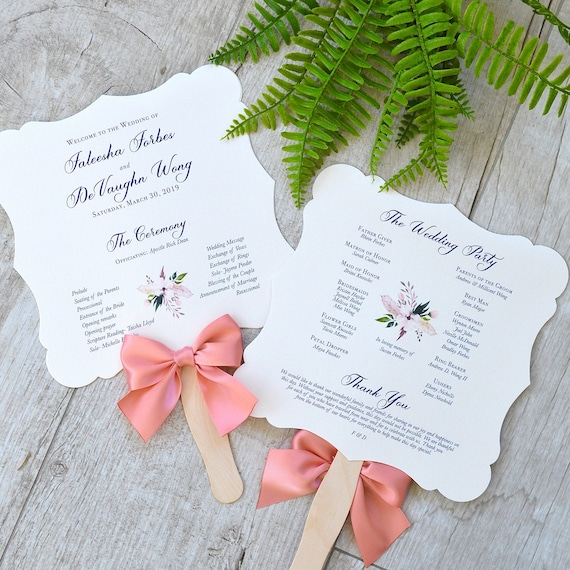 Fancy Shape Fan Program with Coral Satin Bow - White Die Cut Wedding Program w/ Navy Ink and Coral Ribbon - Custom Wording, Colors, & Fonts