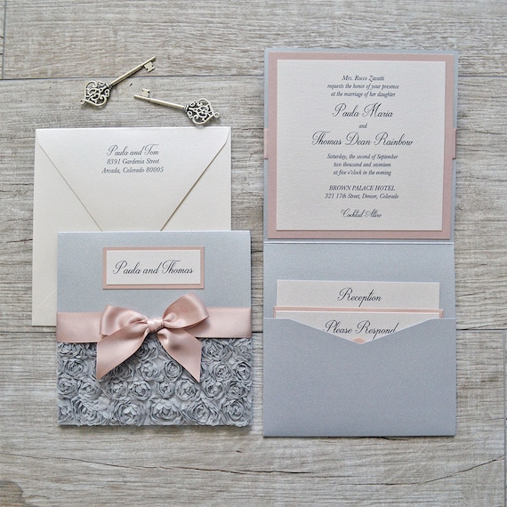 PAULA - Silver Rosette Wedding Invitation - Square Folding Pocket Invite with Silver Rosettes and Pink Blush Ribbon and Accents