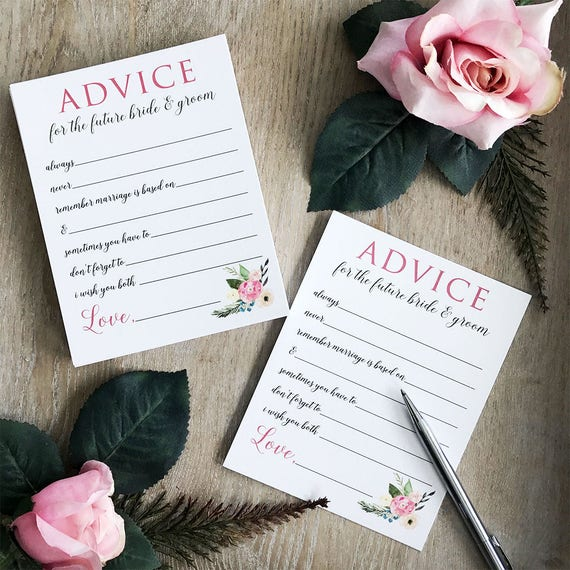 Bridal Shower Stationery - Advice Cards for the Future Bride and Groom - Ivory or White Shimmer Card Stock with Watercolor Flowers