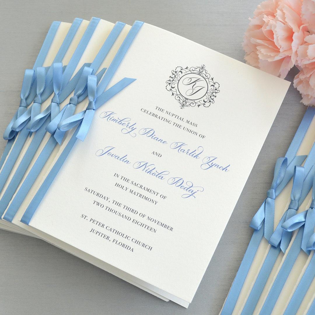 wedding program with satin ribbon bow ivory and dusty blue wedding