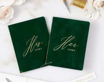 Emerald Green Velvet Vow Books with Gold Foil for Wedding Ceremony - His / Her Vows - Forest Green Suede Keepsake Book - Styled Shoot Sample
