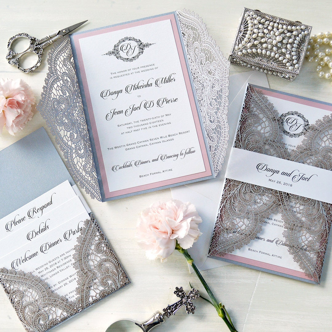DONYA Chantilly Lace Laser Cut Invitation with Back Pocket - Silver ...