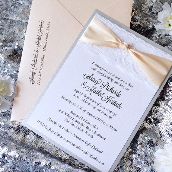 THE KNOT - White Lace Wedding Invitation with Satin Ribbon Bow- Classic Lace Wedding Invitation - Silver and Blush Knot Invitation