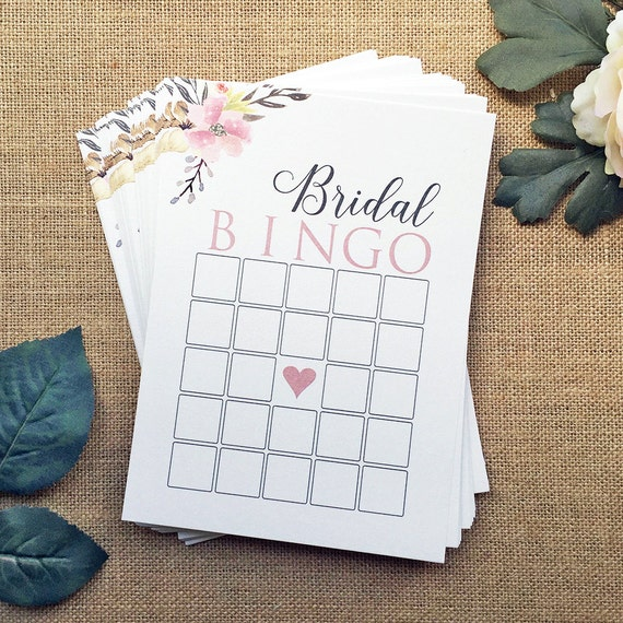 Bridal Shower Stationery - Bridal Bingo Cards - Bridal Shower Game Cads - Ivory or White Shimmer Card Stock with Water Color Flowers