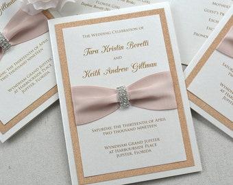 Rose Gold Glitter Wedding Program - Ivory Folding Church Wedding Program with Blush Pink Satin Ribbon and Silver Rhinestone Buckle