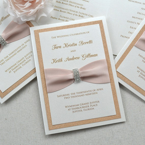 Rose Gold Glitter Wedding Program - Ivory Folding Church Wedding Program with Blush Pink Satin Ribbon and Silver Rhinestone Buckle