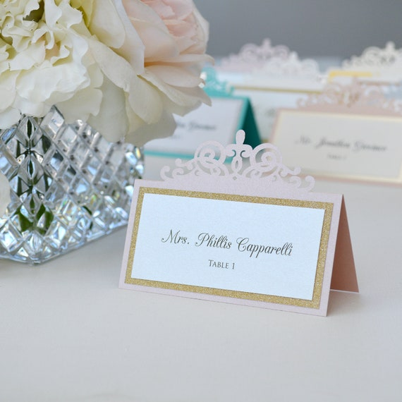 Blush Laser Cut Place Card with Silver or Gold Accent - Escort Card - Custom Placecard for wedding, bridal shower, quince, sweet 16