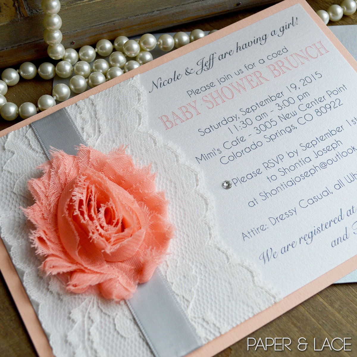ccc4108b7c8 Lace Baby Shower Invitation - Chiffon Flower Invitation - Peach and ...