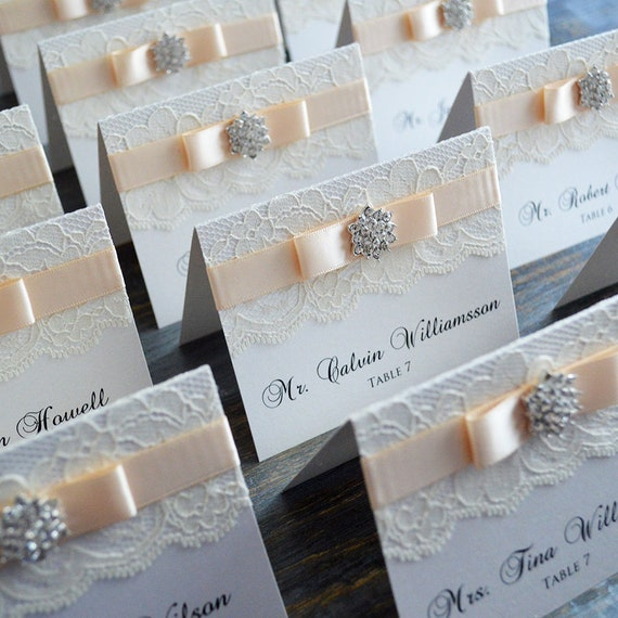Snowflake Place Cards - Lace Escort Cards - Vintage Table Cards - Couture Name Cards - Ivory or White Lace with Crystal Snowflake Button