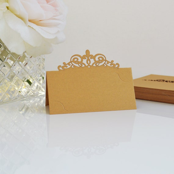 10 Pack of Gold Laser Cut Place Cards - DIY Place Cards for Wedding, Bridal Shower, Birthday Party, Quince, Sweet 16