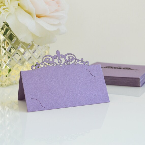 10 Pack of Lavender Laser Cut Place Cards - DIY Place Cards for Wedding, Bridal Shower, Birthday Party, Quince, Sweet 16