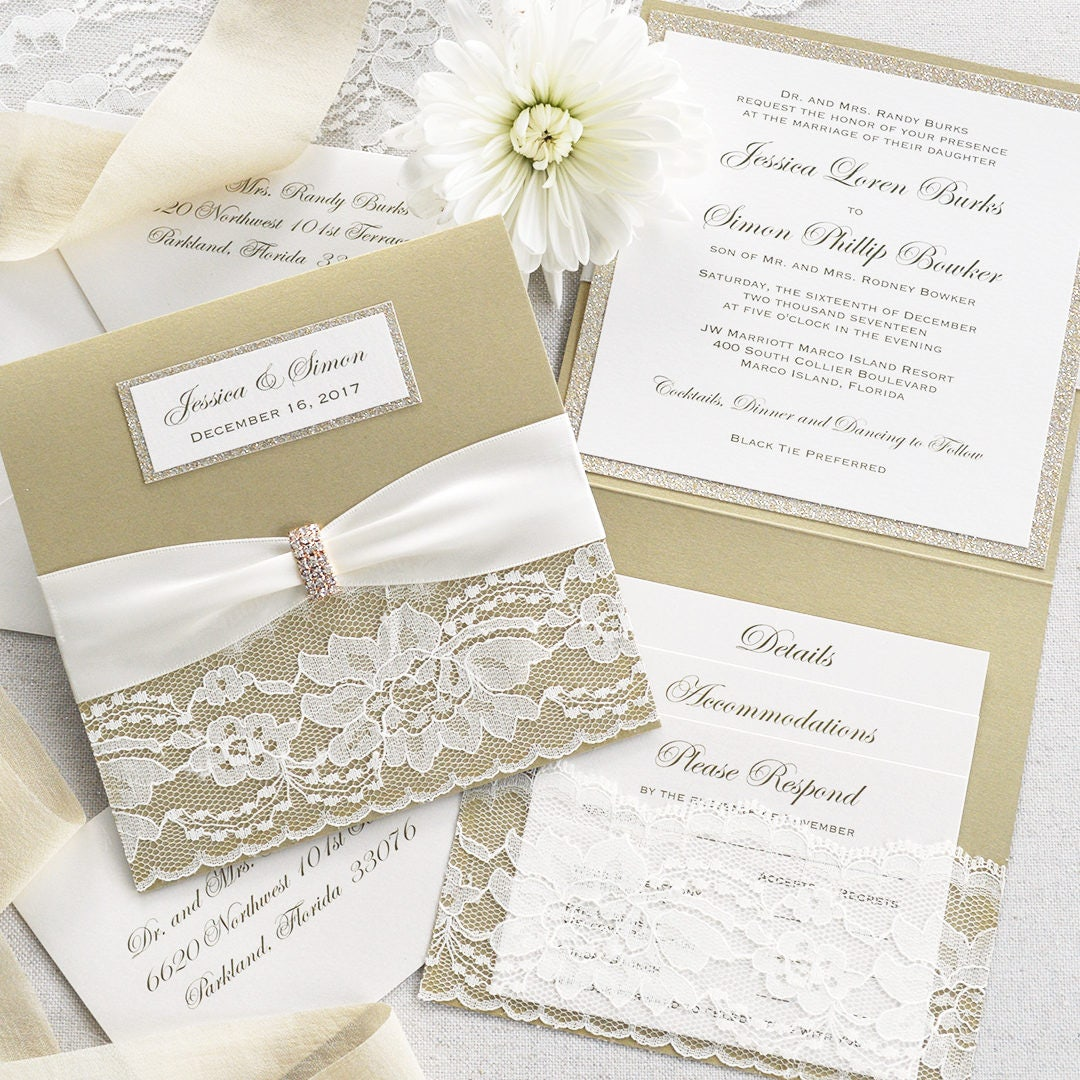JESSICA - Square Lace Pocket Wedding Invitation- Champagne Gold ...