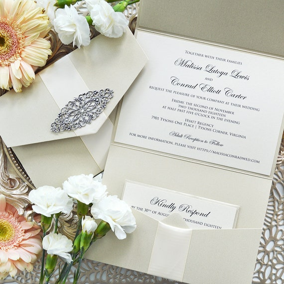 MALISSA Champagne Trifold Pocket Invitation - Pocket Wedding Invitation with Antique Silver Brooch and Cream Ribbon