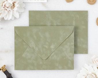Sage Velvet Envelopes - A7 or A9 Euro Flap Envelopes - Suede Envelopes - Wedding Invitation Envelopes - Inner Envelope