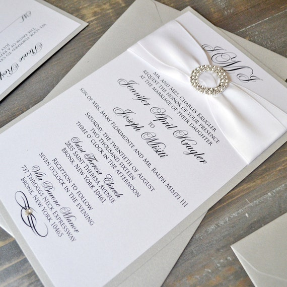 JENNIFER - Silver & White Shimmer Wedding Invitations with rhinestone buckle and swarovski crystal embellishment - Custom colors available
