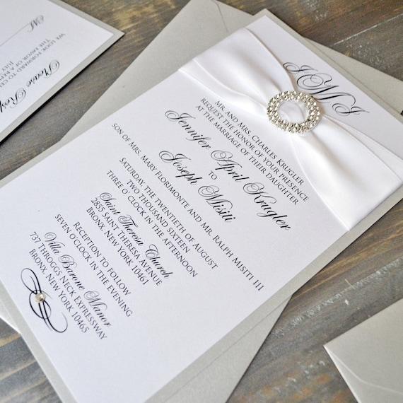 JENNIFER - Silver & White Shimmer Wedding Invitations with rhinestone buckle and swarovski crystal embellishment - Custom colors available