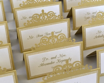 Gold Laser Cut Place Card with Gold Glitter Accent - Escort Card - Custom Placecard for wedding, bridal shower, quince, sweet 16