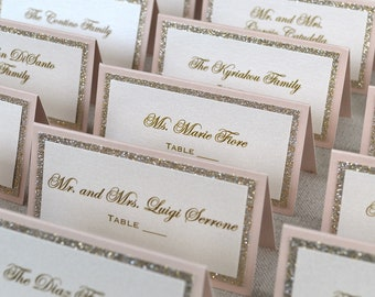 Blush and Gold Glitter Place Cards - Tented Escort Cards - Custom Placecard for Weddings, Sweet 16, Quinceañera, Bridal Showers