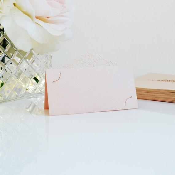 10 Pack of Pale Peach Blush Laser Cut Place Cards - DIY Place Cards for Wedding, Bridal Shower, Birthday Party, Quince, Sweet 16
