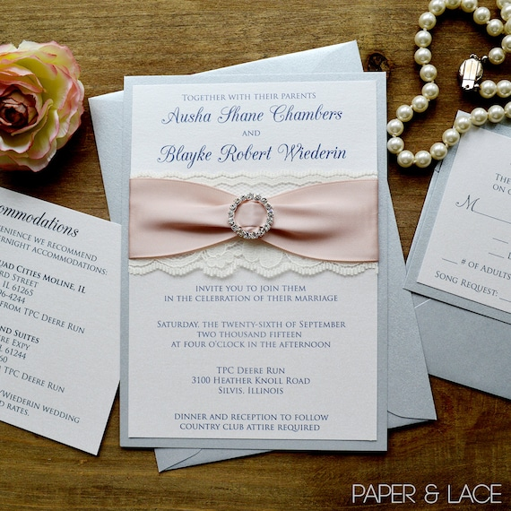 AUSHA - Silver and Blush Wedding Invitation with Ivory Lace, and Antique Pink Ribbon and Silver Rhinestone Buckle