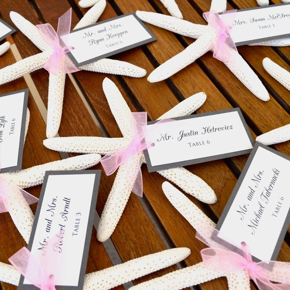 Starfish Place Cards - Escort Cards - Table Cards - Beach Wedding Placecards - Custom colors available for Hangtag and Sheer Ribbon