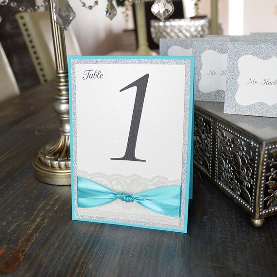 Glitter and Lace Table Numbers - Turquoise and Silver Glitter Wedding Table Number w/ Ivory Lace - Tented Table Card -  (KNOT TABLE NUMBER)