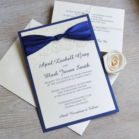 THE KNOT - Navy and Ivory Lace Wedding Invitation - Classic Lace Wedding Invitation - Ivory Lace with Navy Satin Ribbon