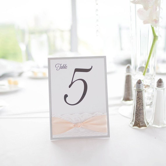 Lace Table Numbers - Silver and Blush Wedding Table Number w/ White Lace and Blush Ribbon- Tented Table Card -  (KNOT TABLE NUMBER)