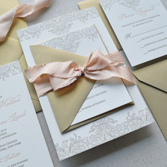 MELANIE - Luxurious Letterpress Wedding Invitation - Double Thick 100% Cotton Pearl White Card Stock with Peach Blush Silk Ribbon