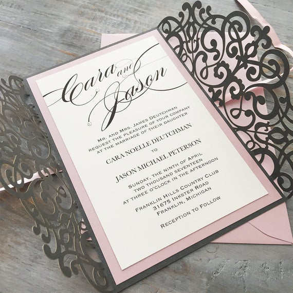 CARA - Steel Gray Laser Cut Wedding Invitation with Blush Pink Accents and Swarovski Crystals - Elegant Laser Cut Invite - Custom Colors