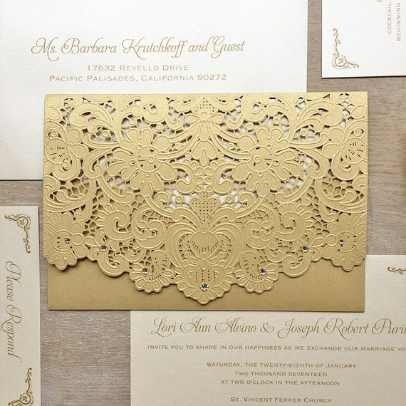 LORI - Gold Laser Cut Pocket Wedding Invitation - Metallic Gold Laser Cut Envelope with Ivory card - Swarovski Crystal Embellishments