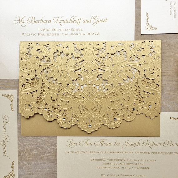 LORI - Gold Laser Cut Pocket Wedding Invitation - Metallic Gold Laser Cut Envelope with Ivory card - Swarovski Crystal Embellishments